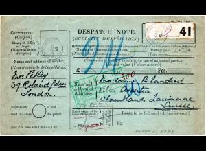 GB 1915, Formular Parcel Dispatch Note v. FULHAM i.d. Schweiz. Porto