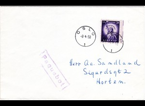 USA 1958, 3 C. auf Paquebot Schiffspost Brief n. Norwegen m. Stpl. K1 OSLO 1