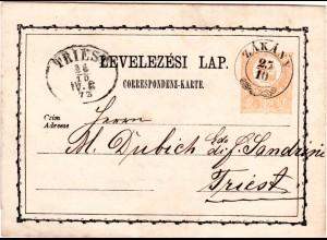 Ungarn 1873, Zier-K2 ZAKANY klar auf 2 Kr. Ungarn Ganzsache n. Triest