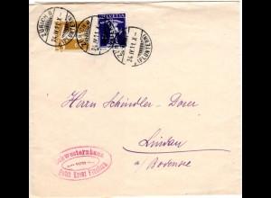 Schweiz 1911, Streifband Ganzsache m. Rotes Kreuz Cachet v. Zürich Fluntern