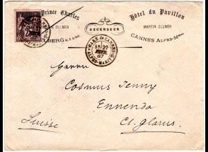 Frankreich 1887, 25 C. auf Hotel Umschlag v. Cannes i.d. Schweiz