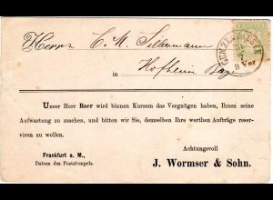 Bayern, 1 Kr. auf Avis Karte m. K1 GUNZENHAUSEN n. Hofheim