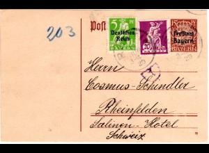 Bayern 1920, 20 Pf in Mischfr. m. 5 Pf. DR, Zusatz auf 15 Pf Ganzsache v. Reutin
