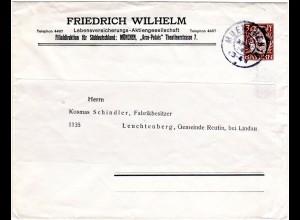 Bayern 1914, 3 Pf. F. Wilhelm Privat Ganzsache Brief, gebr. v. K2 München 10