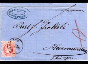 Österreich 1872, K1 FULPMES u. Absender-Cachet auf Brief m. 5 Kr n. Siebenbürgen