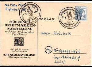 1947, Karte m. Sonder Stpl. Briefmarken Ausstellung zu Gunsten d. By Roten Kreuz