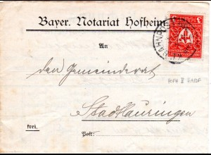 DR 1922, 3 Mk. auf Brief v. Hofheim m. Bayern Bahnpost HOFH II HASSF (Hassfurt)