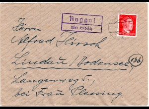 DR 1944, Landpost Stpl. Raggal über Ludesch auf Österreich Brief m. 12 Pf.