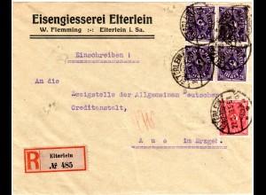 DR 1923, 10+4x20 Mk. auf Einschreiben Brief v. ELTERLEIN Eisen Gießerei