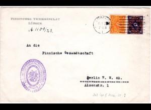 DR 1923, 5+20 Mk. auf Finnland Konsulats Brief v. Lübeck n. Berlin