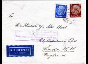 DR 1938, 10+25 Pf. auf Ostmark Luftpost/Bahnpost Brief m. Wien Telegraphen Stpl.