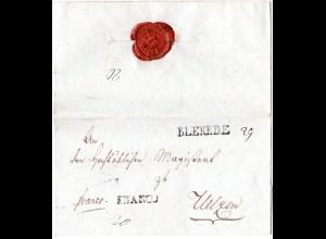 Hannover, L1 BLEKEDE u. FRANCO auf gesiegeltem Brief n. Uelzen