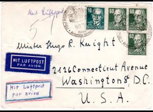 DDR 1951, 3x60+10 Pf. auf Luftpost Brief v. Hohenstein n. USA