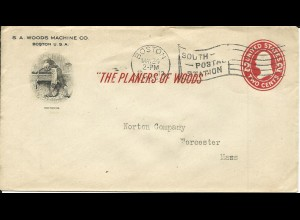 USA 1913, illustrated 2 C. stationery envelope The Planers of Wood from Boston