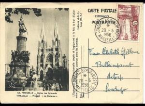 Frankreich 1956, Sonderstpl Congres Esperantiste Marseille auf Karte n. Schweden