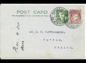 Irland 1931, 1/2+1 P. auf Karte v. Dublin n. Griechenland. Destination!