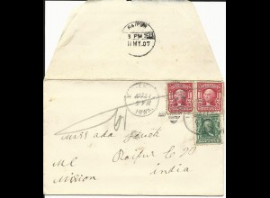 USA 1907, 1+2x2 C. on cover from Indianola to a missionary adress in India