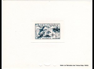 Marokko Mi. Nr. 288, Épreuve Luxe 6+9 Fr. Poste Aerienne m. Atlas Gebirge