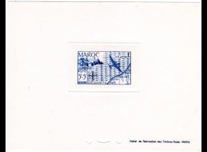 Marokko Mi. Nr. 287, Épreuve Luxe 5+5 Fr. Poste Aerienne m. Landkarte