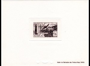 Marokko Mi. Nr. 289, Épreuve Luxe 9+16 Fr. Poste Aerienne m. Landkarte