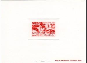 Marokko Mi. Nr. 290, Épreuve Luxe 15+25 Fr. Poste Aerienne m. Landkarte