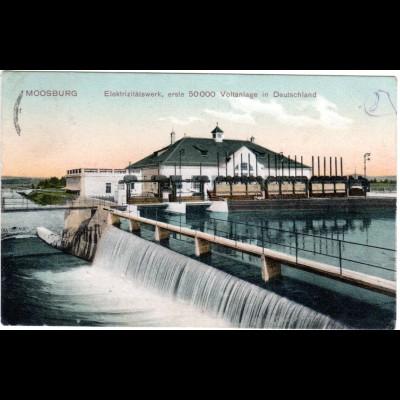 Moosburg, Elektrizitätswerk, m. Posthilfstelle Gundihausen gebr. Farb AK