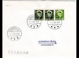 Grönland 1958, Paar 1 Kr.+10 öre auf Brief m. Stpl. NANORTALIK