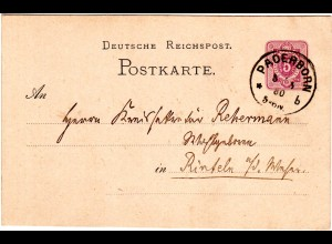 DR 1880, Klaucke Nr.122 PADERBORN b klar auf 5 Pf. Ganzsache n. Rinteln