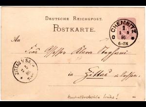 DR 1886, Klaucke Nr.35 CHEMNITZ c klar auf 5 Pf. Ganzsache n. Zittau