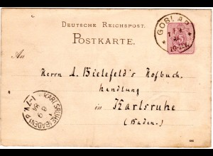 DR 1884, Klaucke Nr.58 GOSLAR klar auf 5 Pf. Ganzsache n. Karlsruhe