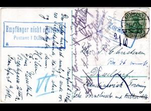 DR 1912, 5 Pf. auf Retour Karte v. Frankfurt m. 2 Düsseldorf Hinweisstempeln