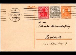 DR 1920, 2 1/2+10 Pf. Zusatzfr. auf 7 1/2 Pf. Ganzsache v. Kiel n. Island!
