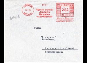 DR 1931, 4 Pf. Maschinen Werbe Freistempel auf Brief v. Schwaan n. Schwerin