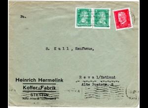 DR 1928, 15+2x5 Pf. auf Firmen Brief v. Stettin n. Estland.