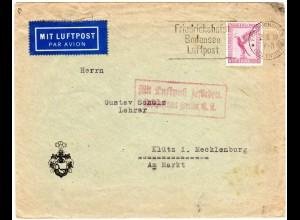 DR 1929, 15 Pf. auf Luftpost Brief v. Friedrichshafen via Berlin n. Mecklenburg