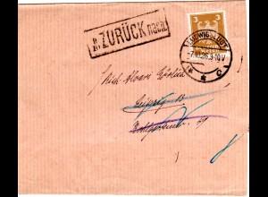 DR 1926, EF 3 Pf. auf Streifband v. Ludwigslust m. Leipzig Zurück-Stempel