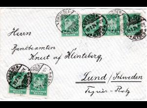 DR 1924, MeF 6x5 Pf. portorichtig auf Brief v. Dresden n. Schweden