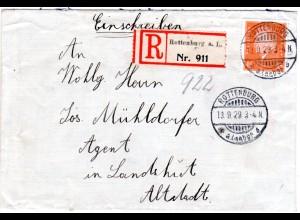 DR 1929, EF 45 Pf. portorichtig auf Einschreiben Brief v. Rottenburg n. Landshut