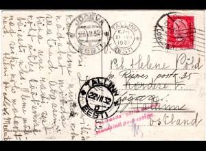 DR 1932, 15 Pf. auf AK v. Dresden m. Estland Nachsende Hinweis Stpl.