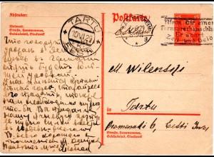 DR 1929, 15 Pf. Ganzsache v. Bad Nauheim n. Estland