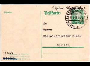 DR 1925, Marienwerder Verkehrstag, Sonder Stpl. auf blanco Karte n. Görlitz