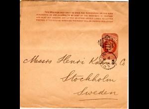 GB 1893, 1d Streifband Ganzsache v. Dublin Irland n. Dänemark