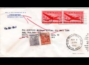 Brasilien 1946, 2 Marken als Nachsendefrankatur auf US Luftpost Brief