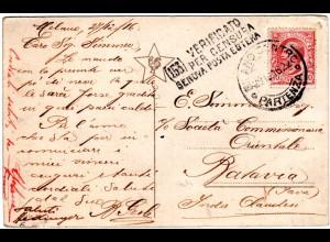 Italien 1916, 10 C. auf Zensur Karte v. Milano n. Batavia, NL Indien.