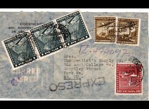 Chile 1953, 6 Marken auf Luftpost Einschreiben Express Brief v. Santiago n. USA