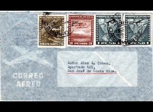 Chile 1955, 20+3+2x1 P. auf Luftpost Brief v. Santiago n. Costa Rica.
