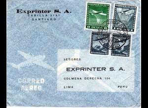 Chile 1954, 8+1 P.+ 2x40 C. auf Luftpost Brief v. Santiago n. Peru