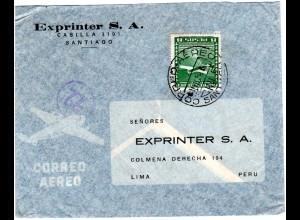 Chile 1954, EF 8 P. auf Luftpost Brief v. Santiago n. Peru
