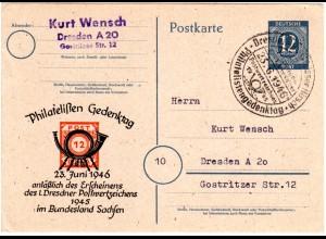 1946, 12 Pf. Sonder Ganzsache Philatelisten Gedenktag Dresden m. Sonderstempel