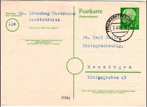 BRD P 28A, 10 Pf. Heuss Antwortteil Ganzsache zurückgebr. v. Marktredwitz